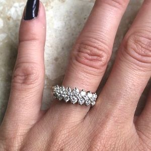 Jewelry - 3 Row Diamond Yellow Gold Band Stack Ring Vintage